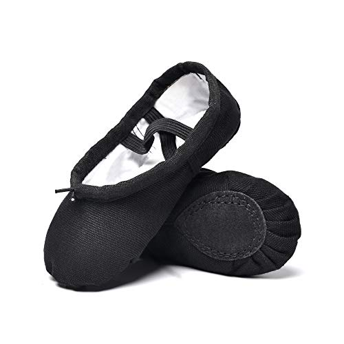 STELLE Girls Canvas Ballet Slippers Flats, Leather Soles Dance Shoes (Black, 8MB) ()