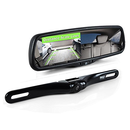 Pyle Backup Car Camera Rear View Mirror Screen Monitor System with Parking & Reverse Safety Distance Scale Lines, OEM Fit, Waterproof & Night Vision, 170° Angle Adjustable, 4.3'' LCD Display-(PLCM4550) by Pyle