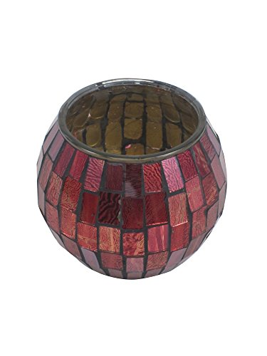 "Firefly Home Collection Mosaic Candle Holder, Burgundy, 4"" x"