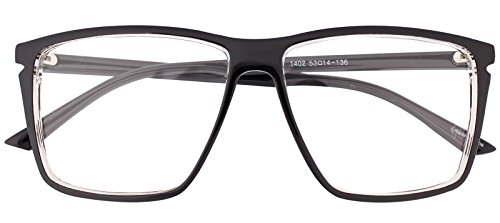 Classic Square Horn Rimmed Nerdy Eye glasses Eyewear Geek Clear Lens Glasses (Black E1402, - Large Glasses Men Frame