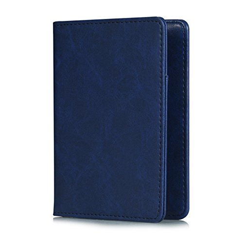 (EpicGadget RFID Blocking Premium Leather Passport Holder Travel Wallet Cover Case (Navy Blue))