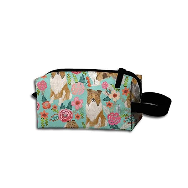 Unisex Portable Travel Wristlets Bag Rough Collie Dog Clutch Wallets, Change Purse,Pencil Bag,Cosmetic Bag Pouch Coin Purse Zipper Change Holder Strap 1