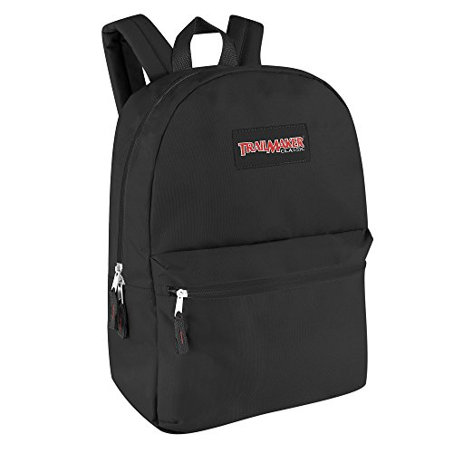 Classic Traditional Solid Backpacks with Adjustable Padded Shoulder Straps (Black)