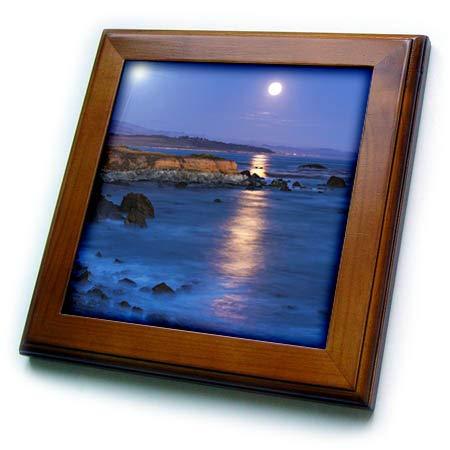 3dRose Danita Delimont - California - Full Moon Rising Over Piedras Blancas, San Simeon, California, USA - 8x8 Framed Tile (ft_314707_1) ()