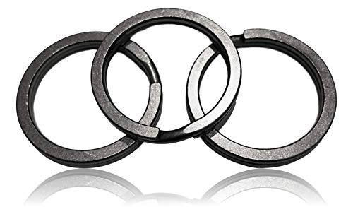Valtcan Titanium Keyring Key Rings Holder Split Rings, 3 Pack Exclusive Stonewash Surface Finish Anti Lost Easy Carry Low Noise 32mm OD and 26mm ID