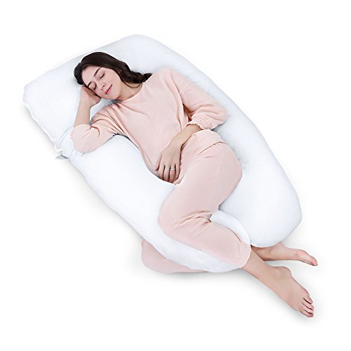 Queen-Rose-Unique-U-Shaped-Full-Body-Support-Pillow-for-Side-Sleeping-Nursing-Pillow-Maternity-Pregnancy-Pillow-With-100-Cotton-Pillow-Case-white