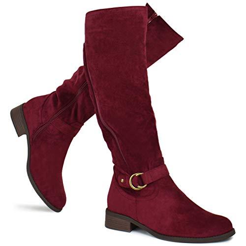 Premier Standard - Women's Fashion Comfy Suede Elastic Block Heel - Sexy Knee High Boots- Easy Heel, TPS Boots-20Eixirt Wine Su Size 11