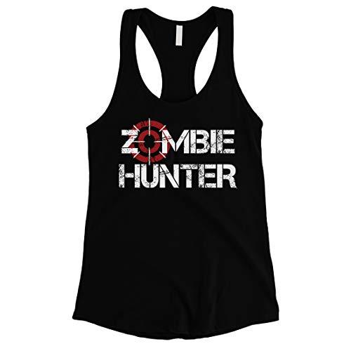Halloween Fun 365 (365 Printing Zombie Hunter Womens Black Awesome Fun Halloween Tank Top Gag Gift)