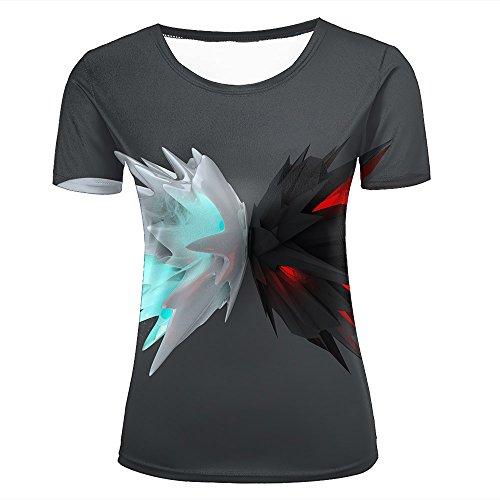 T shirts Et Noir Manches À Avec Blanc Courtes Motif 3d Ailes Zrwrqdz