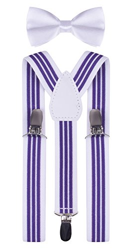 Boys Suspenders and Bow Ties Elastic Halloween Suspender Child Straps (Halloween Costumes For Skinny Guys)