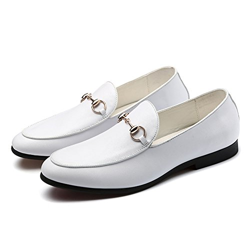 SYH Men's Penny Loafers Tuxedo Wedding Loafers Slip-on Smoking Slippers White Shoes 8.5in by SYH