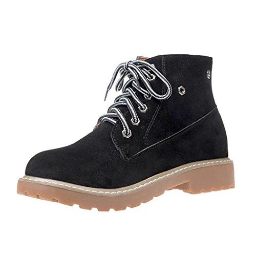 Transer® Damen Flach Schnüren Kunstleder Stiefeletten Warm Knöchel Kurz Stiefel Winter Schuhe Martin Boot Schwarz
