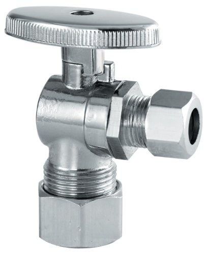 Plumb Craft 7832900LF 5/8-Inch by 3/8-Inch Low Lead Quarter Turn Angle Valve - 0.375' Chrome Angle