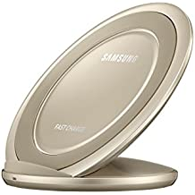 Samsung Qi Certified Fast Charge Wireless Charger Stand w/Wall Charger-Supports Qi compatible phones including the Samsung GS 8,8,Note8,Apple iPhone 8, iPhone 8 Plus,and iPhone X (US Vers.)- Gold