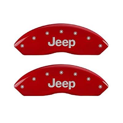 Image of MGP Caliper Cover 42007SJEPR Red Caliper Covers - Engraved Front & Rear, 4 Pack Calipers