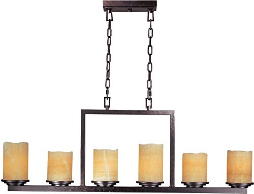 Maxim 21148SCRE Luminous 6-Light Chandelier, Rustic Ebony Finish, Stone Candle Glass, MB Incandescent Incandescent Bulb , 18W Max., Dry Safety Rating, 2900K Color Temp, ELV Dimmable, Shade Material, 264 Rated Lumens (Ebony Stone)
