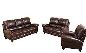 Abbyson  Grace CH-8857-BRG-3PCSET Leather Reclining Sofa Set