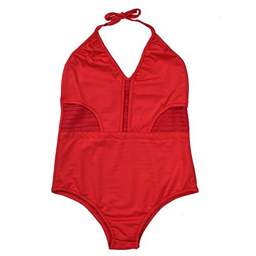 Female Swimsuit Hollow without Steel without Chest Pad Red Three Sizes L