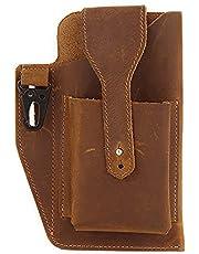 Crazy Horse Leather Mobile Phone Bag 2021 Cross-Border New Sports Tactical Waist Bag Bag European And American Retro Leather Men'S Waist Bag