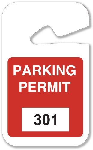 Permit Tags (Brady 96273, Rearview Mirror Hanging Tags Stock Parking Permits, Red 301 - 400, 2 3/4