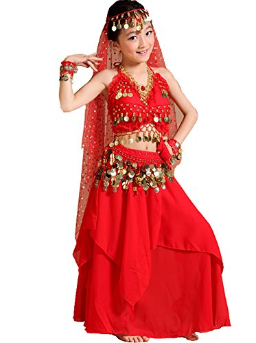 Astage Kids Belly Dance Costume Dress Set Red Medium (Fits 9-10 Years)