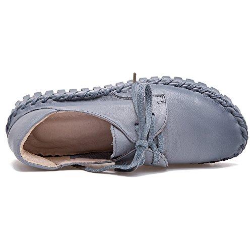 Shenn Kvinna Låg Klack Komfort Snörning Tillfälliga Snörning Mode Sneakers Grå