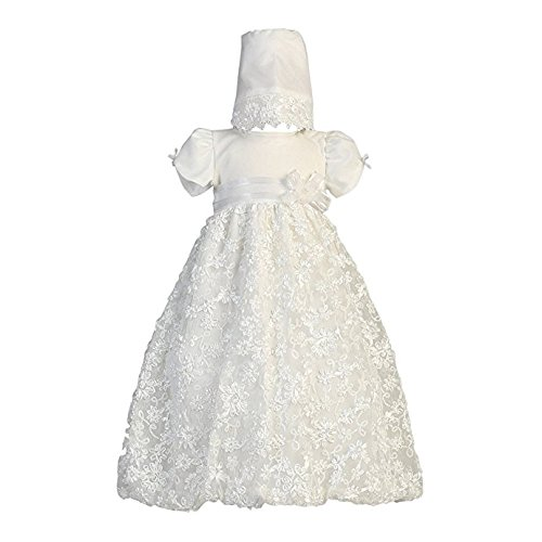 Long White Embroidered Satin Ribbon Tulle Baby Girl Christening Baptism Special Occasion Newborn Dress Gown with Matching Hat - M (6-12 Month, 13-17 (Satin Christening Dress)