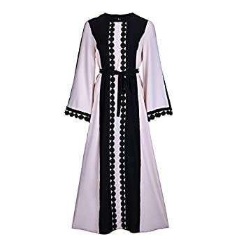 Fancyqube Women's Elegant Muslim Kaftan Dubai Islamic Abayas Long Sleeve A Line Maxi Dress with Belt