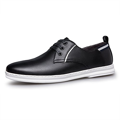 Zro Heren Classic Lederen Oxford Flats Schoenen Lace Up Zwart