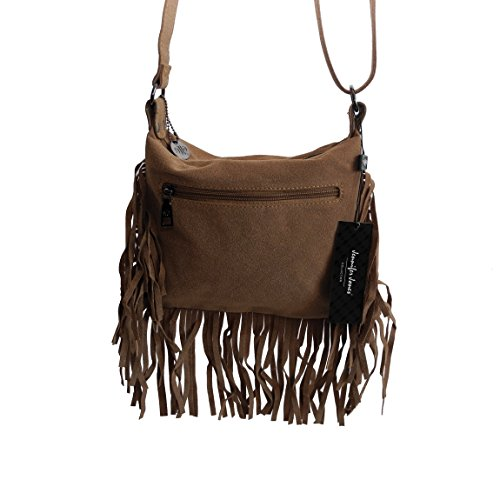 c15491eb85184 ... Jennifer Jones Kollektion - kleine Fashion Fransen Vintage Damentasche  Beutel Taschen Schultertasche Umhängetasche PU Wildlederoptik mit
