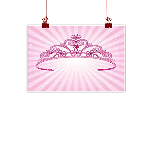 Fabric Cloth Rolled Kids,Beautiful Pink Fairy Princess Costume Print Crown with Diamond Image Art 36