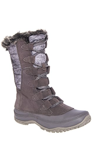 (The North Face Nuptse Purna Boot Womens Plum Kitten Grey/Steeple Grey 10)