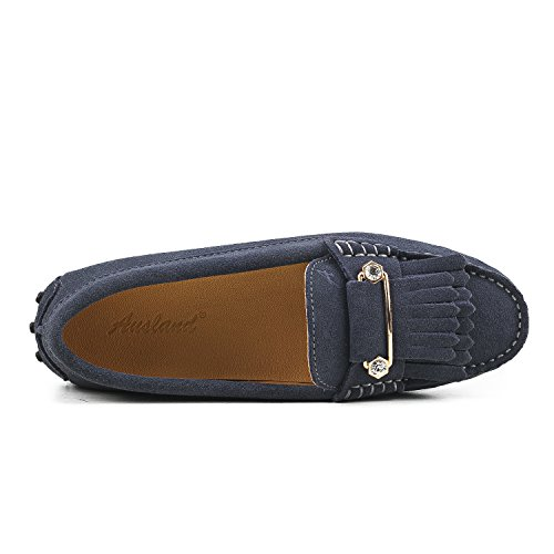 Ausland Kvinna Loafers Mocka Mockasiner Slip-on Skor Grå