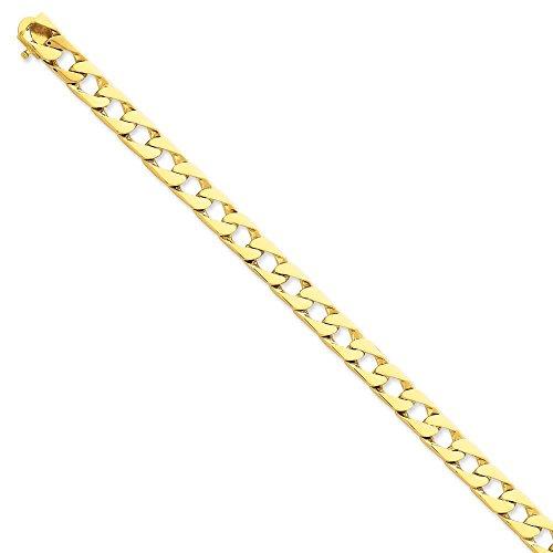 """14 carats 8 mm-poli à la main à fantaisie lien Chain Bracelet - 8 """"- Fermoirs Mousquetons-JewelryWeb"""
