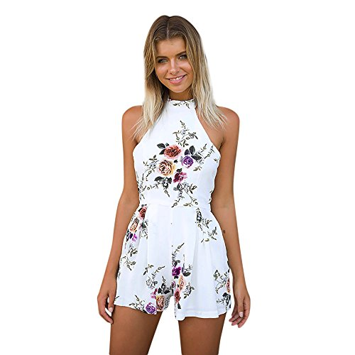 (Women Sexy Backless Halter Neck Bodycon Shorts Jumpsuits Romper Casual Style Boho Floral Beach Sleeveless Playsuit White)