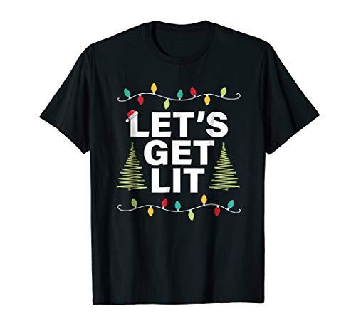 Let's Get Lit Funny Christmas Drinking T-Shirt Xmas - Christmas Tee T-shirt
