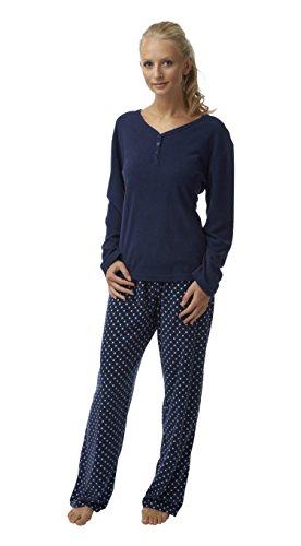 Best Deals Direct - Pijama - para mujer Knopfverschluss Marineblau Gepunktet