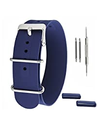 SIMCOLOR Silicone Watch Bands 18mm 20mm or 22mm Soft Rubber Nato Watch Strap