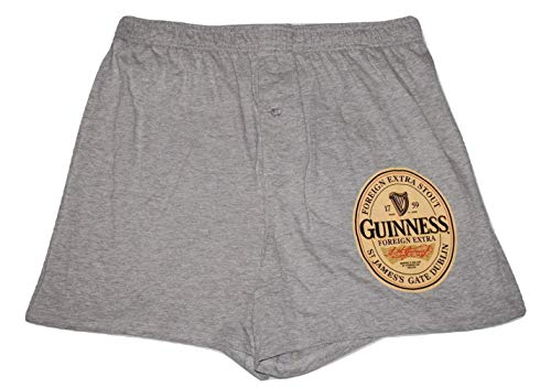 (Guinness Men's Guys Grey Boxer Shorts Lounge Pajama Sleep Bottoms Shorts PJ - Size Large )