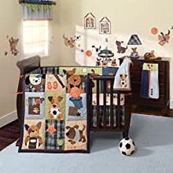 Lambs & Ivy Bow Wow Dog Boy's 9 Piece Crib Bedding Set