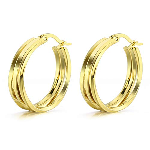 Yumay 14K Yellow Gold Hoop Earrings with 3 Layer Twist Design for Women or Girls(25MM). (25 Twist Plated Gold)
