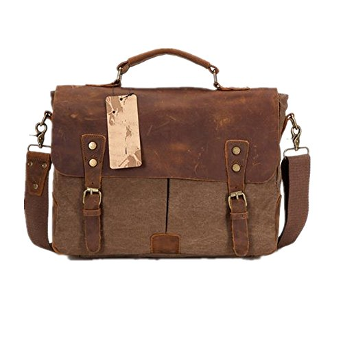 Bestfort Aktentasche Business Bag Damen Herren Canvas Leder Umhängetasche Laptoptasche Messenger Bag (Grau) Kaffee