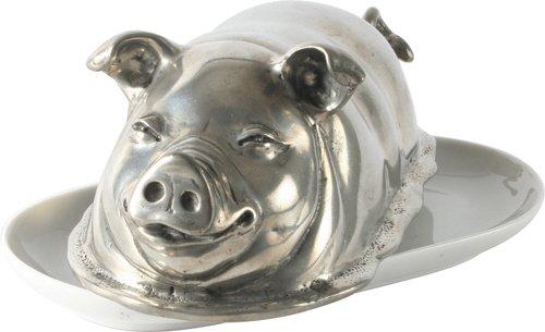 Vagabond House Pewter Butter Dish - Pig by Vagabond House
