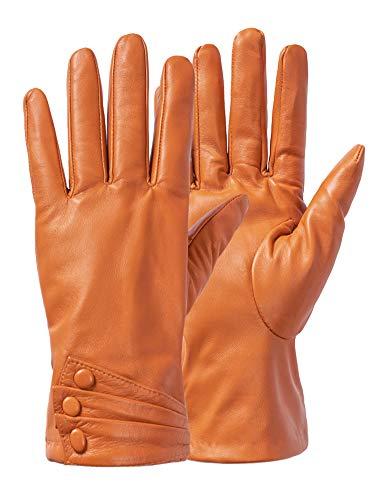 Women Leather Gloves, Italian Genuine Leather Nappa Elegant Driving Warm Gloves Brown