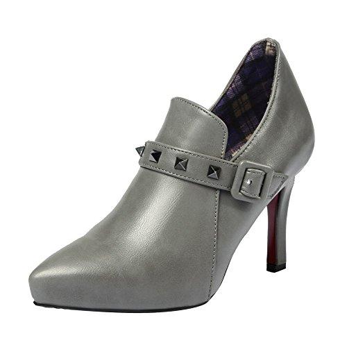 Trichterabsatz Ankel Mee Damen Boots Reißverschluss Shoes Grau fn4ExqF