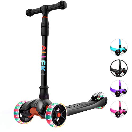 Allek Kick Scooter, Lean 'N Glide Scooter with Extra Wide PU Light-Up Wheels and 4 Adjustable Heights for Children from 3-14yrs (Black)