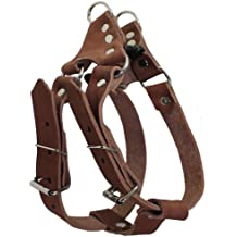 """Genuine Leather Medium 22.5""""-26"""" Chest 3/4-inch Wide Adjustable Dog Step-in Harness Brown"""