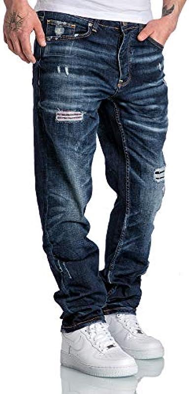 Amaci&Sons Męskie dżinsy Regular Straight Fit Denim spodnie Destroyed 7984: Odzież
