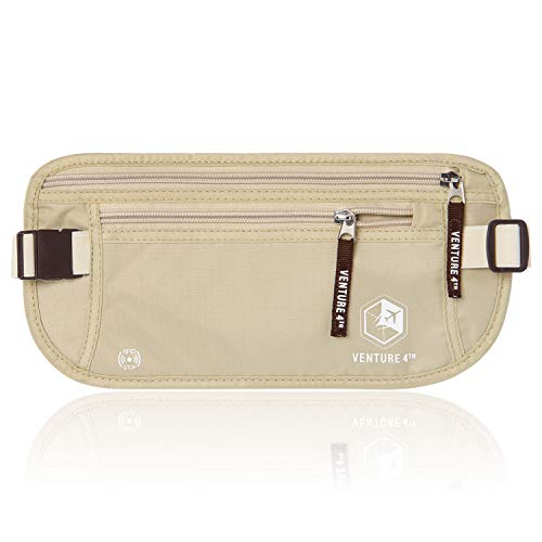 VENTURE 4TH Undercover Money Belts for Travel (Beige)