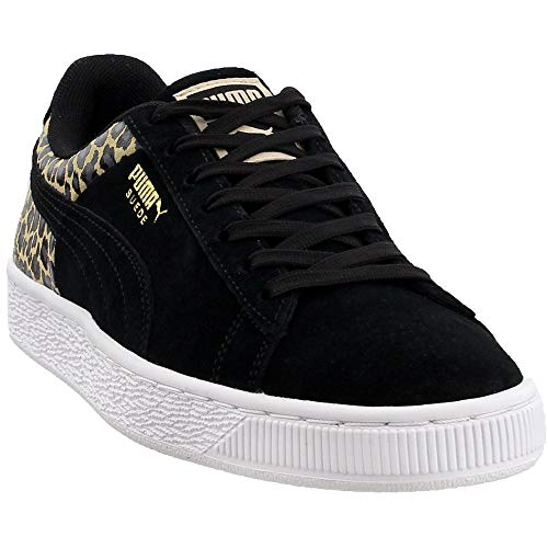 (PUMA Women's Suede Wild QTR Sneakers, Black, 6.5 M US)